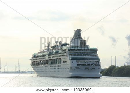 Velsen The Netherlands - June 3rd 2017: Vision of the Seas Royal Caribbean International on North Sea Channel towards North Sea