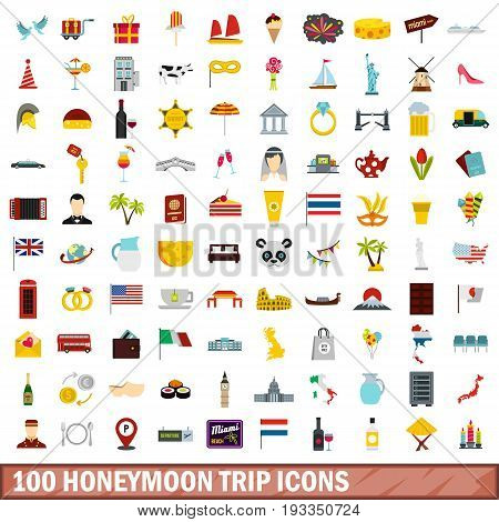 100 honeymoon trip icons set in flat style for any design vector illustration