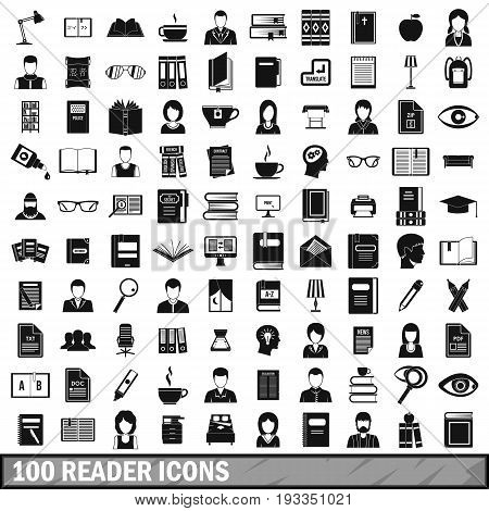 100 reader icons set in simple style for any design vector illustration