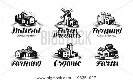 Farm, farming label set. Agriculture, agribusiness, building icon or logo. Vector illustration isolated on white background