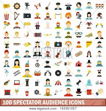 100 spectator audience icons set in flat style for any design vector illustration