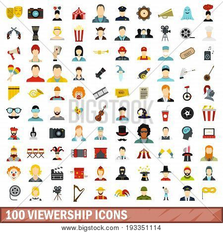 100 viewership icons set in flat style for any design vector illustration