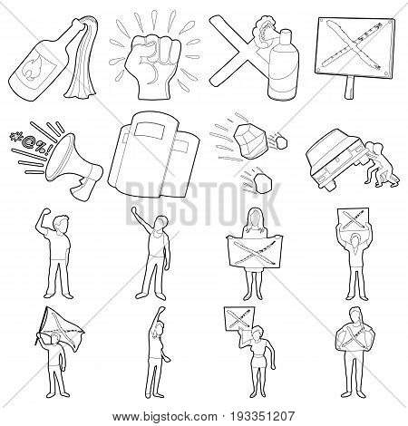 Protest items icons set. Outline illustration of 16 protest items vector icons for web