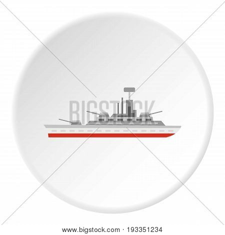 Warship icon in flat circle isolated on white background vector illustration for web