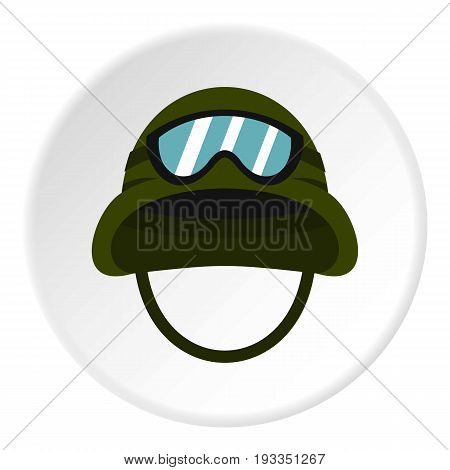 Military metal helmet icon in flat circle isolated on white background vector illustration for web