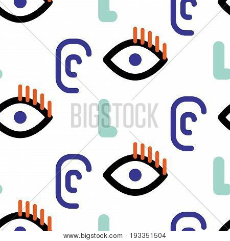 Abstract faces hipster vector seamless pattern. Funny strange eyes, ears and noses blue and black on white texture background for print.