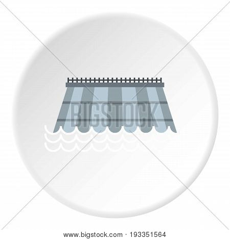 Hydro turbine icon in flat circle isolated on white background vector illustration for web