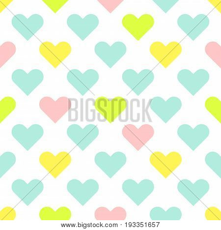 Heart shapes cute baby seamless vector pattern. Textile tender colors print texture for apparel and linen.