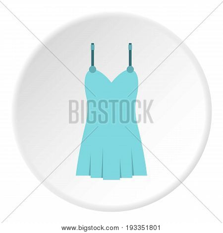 Blue nightie icon in flat circle isolated on white background vector illustration for web