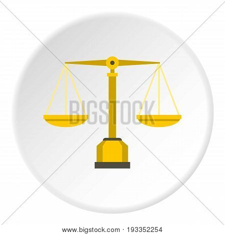 Gold scales of justice icon in flat circle isolated on white background vector illustration for web