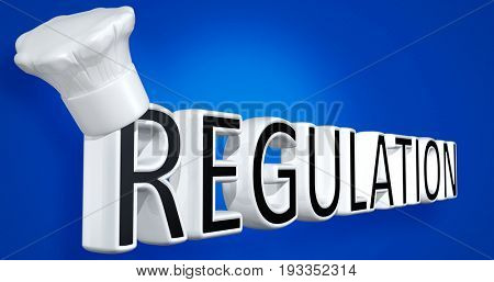 Toque Blanche On The Word Regulation 3D Illustration
