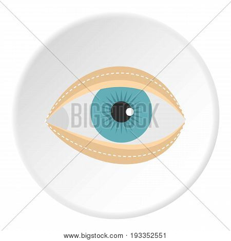 Blepharoplasty icon in flat circle isolated on white vector illustration for web