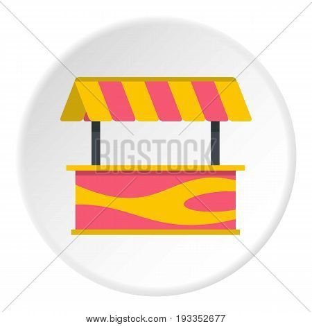 Street stall with striped awning icon in flat circle isolated on white vector illustration for web