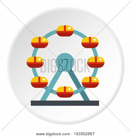 Huge ferris wheel, Canada icon in flat circle isolated on white vector illustration for web