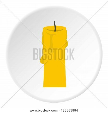 One candle icon in flat circle isolated on white vector illustration for web