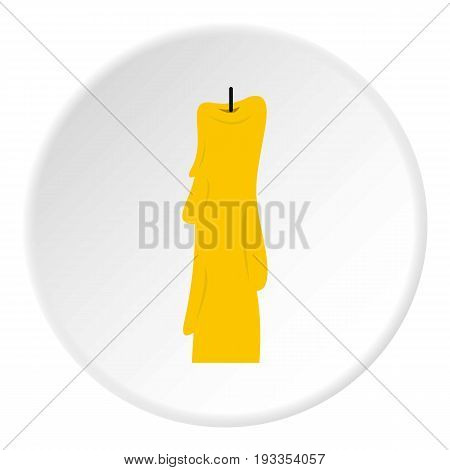 Wax candle icon in flat circle isolated on white vector illustration for web