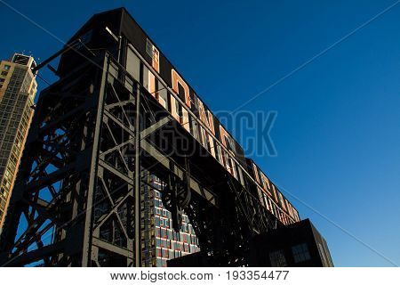 The iconic gantries of Gantry State Park with blue sky, Long Island City