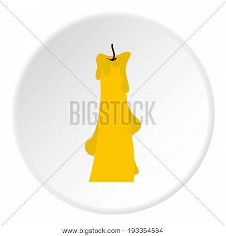 Dropped candle icon in flat circle isolated on white vector illustration for web
