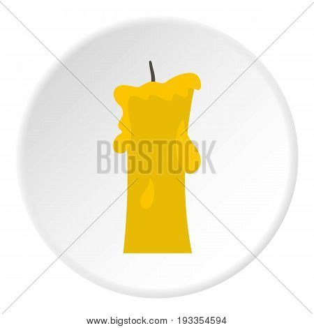 Small candle icon in flat circle isolated on white vector illustration for web