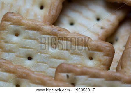 Macro of traditional tasty butter cookies for breakfast or tea time