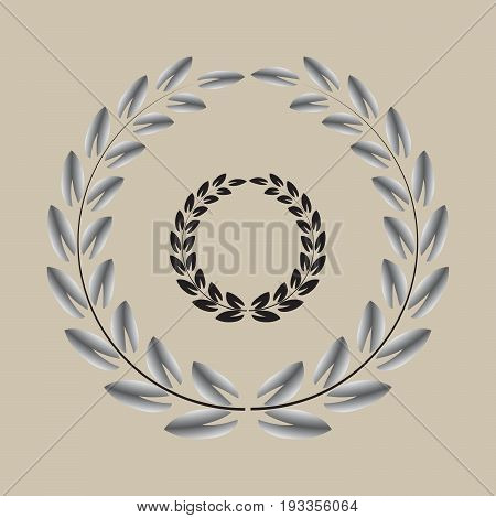 wreath black and silver small pointy tip leaf set vector illustration image