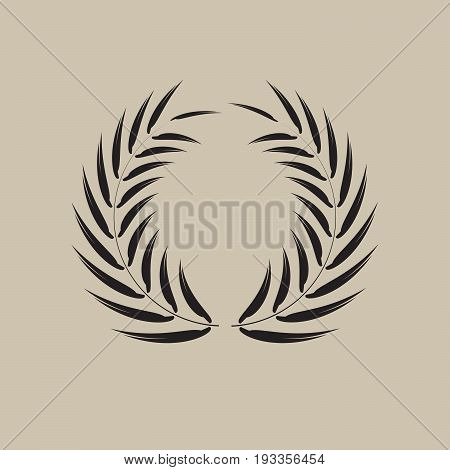 wreath black long pointy tip leaf set vector illustration image