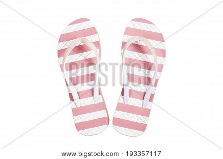 Pink flip flop sandals beach shoes isolated on white background.