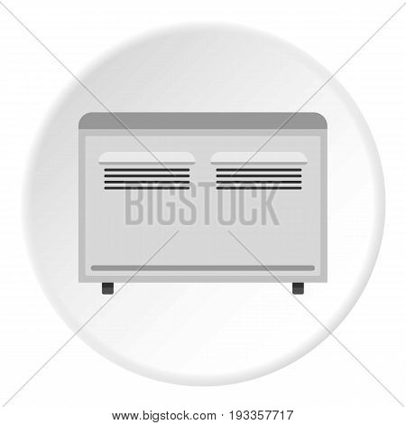 Retro electric fan icon in flat circle isolated on white vector illustration for web