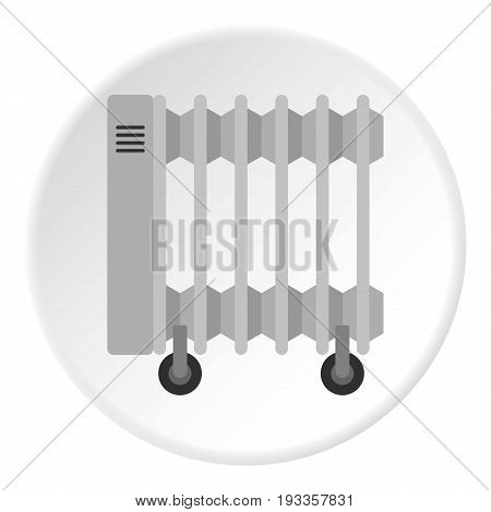 Portable electric heater icon in flat circle isolated on white vector illustration for web