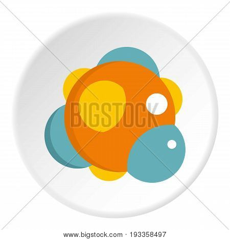 Chemical laboratory transparent flask with red liquid icon in flat circle isolated on white vector illustration for web