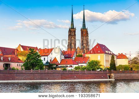 Picturesque Scene Of Famous Tumski Island With Cathedral Of St. John On Odra River.