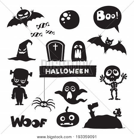 Vector set of characters and icons for Halloween in cartoon style. Pumpkin, ghost, candy, Frankenstein, Skeleton and other traditional elements of Halloween. Children in costumes for Halloween.