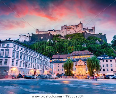 Colorful Spring Sunset In The Old Town Of Salzburg.