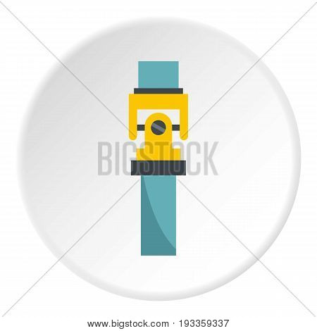 One gear icon in flat circle isolated on white vector illustration for web