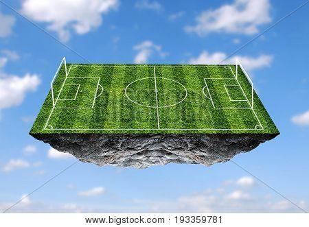 Soccer field floating island. football field. illustration