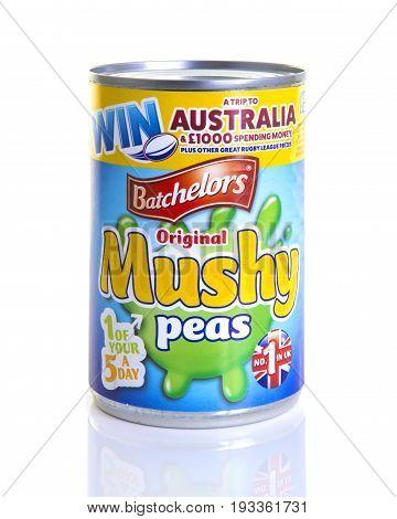 SWINDON UK - JUNE 11 2017: A Tin of Batchelors Original Mushy Peas on a white background