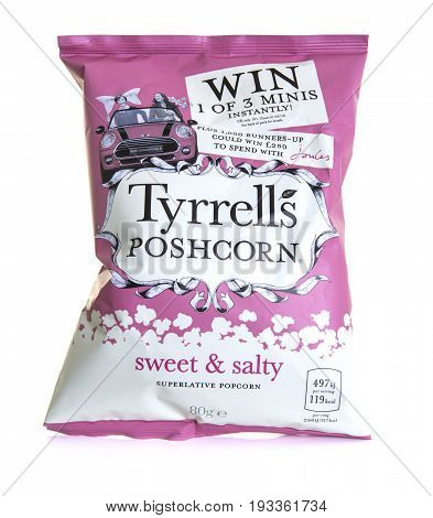 SWINDON UK - JUNE 11 2017: Bag of Tyrrells Sweet and Salty Poshcorn on a white background