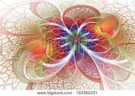 Abstract Exotic Flower With Textured Petals On White Background. Fantastic Fractal Design In Golden,