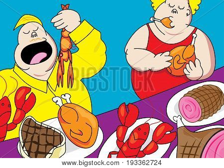 funny buffet party pig out cartoon vector illustration