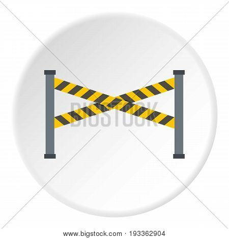 Police line icon in flat circle isolated on white background vector illustration for web