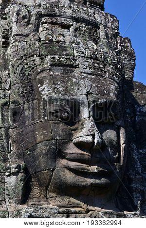 The Face of Prasat Bayon, Angkor Wat, Cambodia.