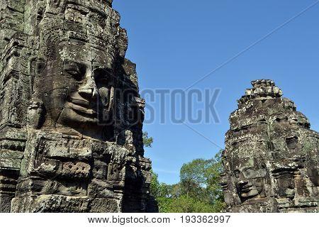 Faces at Prasat Bayon, Angkor Wat, Cambodia.