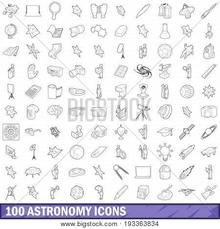 100 astronomy icons set in outline style for any design vector illustration