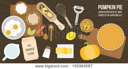 poster of pumpkin pie ingredients and utensils, such as lemon zest, all purpose flour, butter, spices, whisk, flat design vector