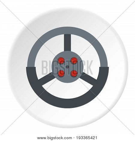 Steering wheel icon in flat circle isolated on white background vector illustration for web