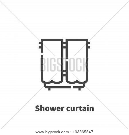 Shower Curtain Icon, Vector Symbol In Line Style Isolated On White Background. Editable Stroke 48X48