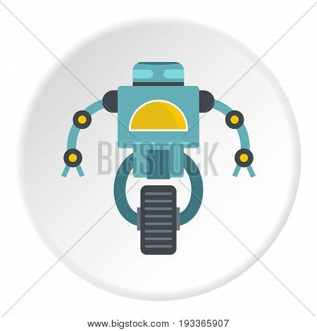 Blue cyborg on wheel icon in flat circle isolated on white background vector illustration for web