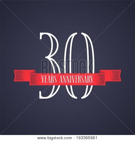30 years anniversary vector icon logo. Graphic design element with red ribbon and number for 30th anniversary celebration