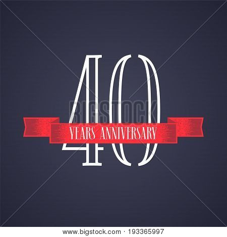 40 years anniversary vector icon logo. Graphic design element with red ribbon and number for 40th anniversary celebration