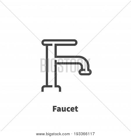 Faucet icon vector symbol in line style isolated on white background. Editable stroke 48x48 pixel perfect.